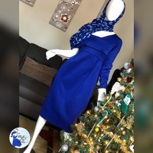 Royal Blue Off the Shoulder-One Sleeve Dress
